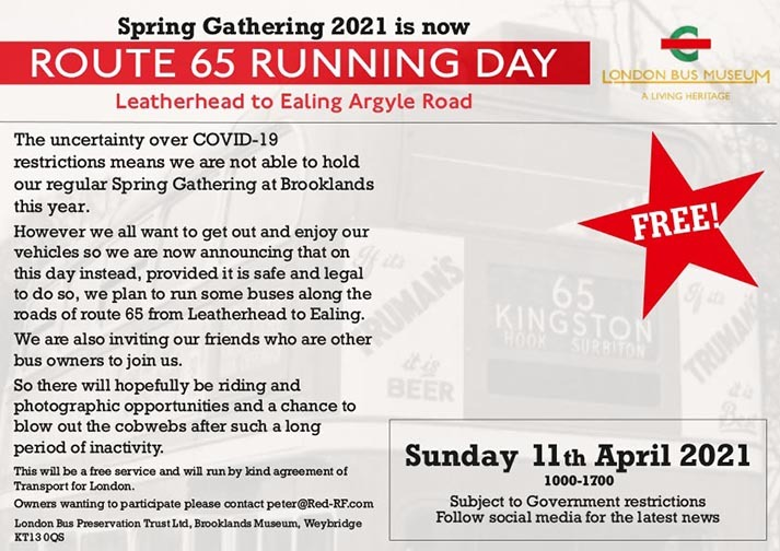 Route 65 Running Day - Sunday 11th April 2021
